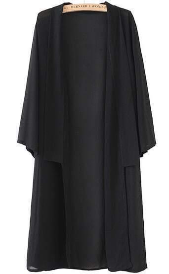 Black Long Sleeve Loose Maxi Kimono