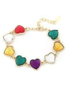 Multicolor Gemstone Gold Hearts Bracelet