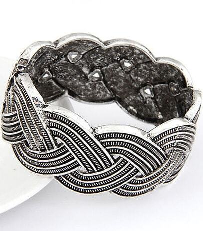 Retro Silver Hollow Twine Bracelet