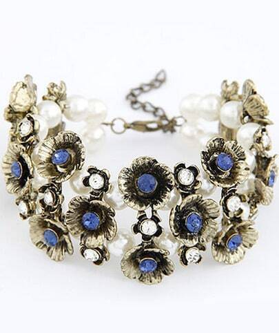 Blue Gemstone Gold Flower Bead Bracelet