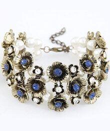 Blue Gemstone Gold Flower Bead Bracelet