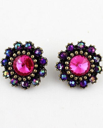 Red Blue Gemstone Gold Bead Stud Earrings
