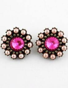 Pink Gemstone Retro Gold Bead Stud Earrings