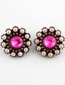 Pink Gemstone Retro Gold Bead Stud Earrings