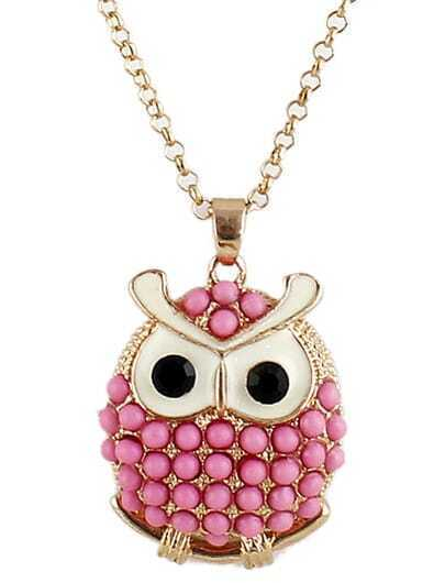 Pink Bead Owl Chain Necklace
