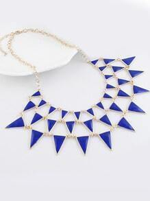 Blue Gemstone Gold Triangle Chain Necklace