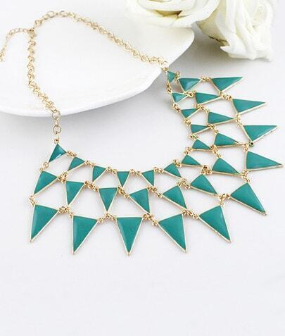 Green Gemstone Gold Triangle Chain Necklace pictures