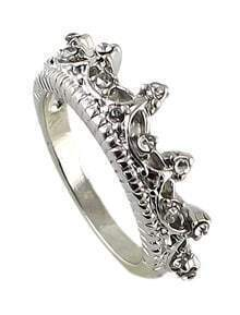Silver Diamond Imperial Crown Ring