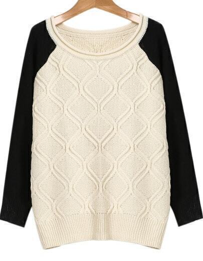 Beige Contrast Long Sleeve Knit Sweater