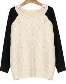Beige Contrast Long Sleeve Knit Sweater