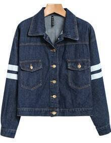 Navy Lapel Long Sleeve Letters Print Jacket