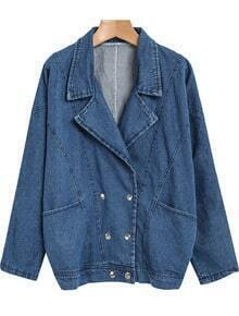 Blue Lapel Long Sleeve Loose Denim Jacket