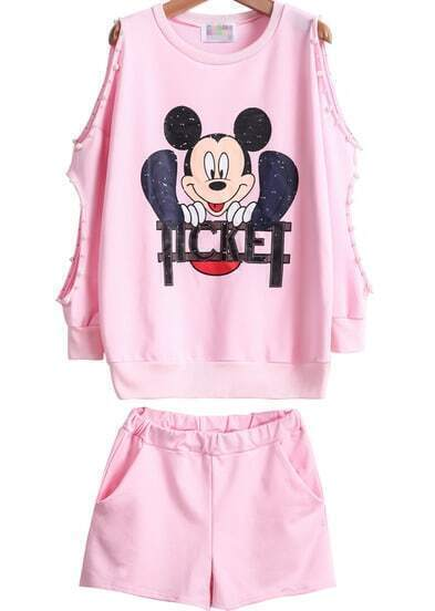 Pink Off the Shoulder Mickey Print Bead Top With Shorts