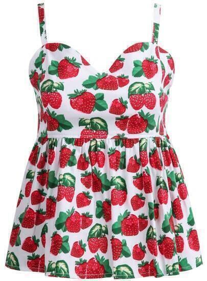 Red Spaghetti Strap Strawberry Print Vest