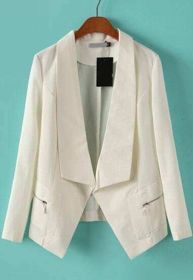 White Lapel Long Sleeve Zipper Fitted Blazer