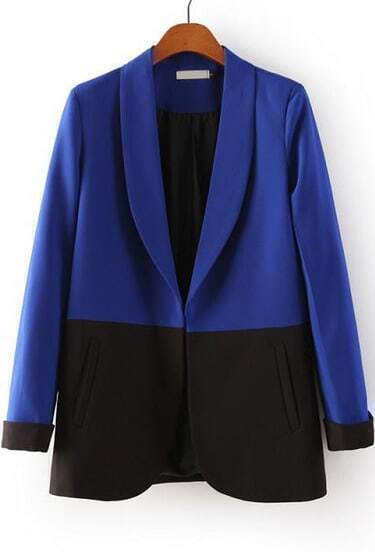 Blue Black Lapel Long Sleeve Pockets Blazer