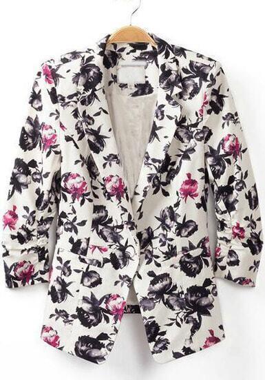 White Notch Lapel Long Sleeve Floral Blazer