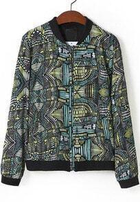 Black Stand Collar Geometric Print Jacket