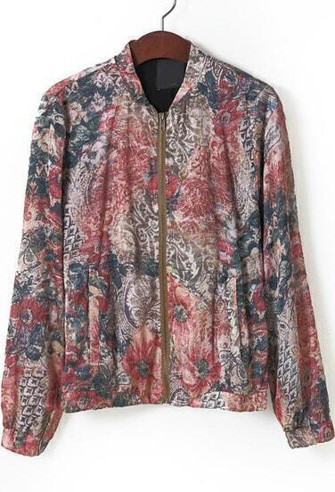 Red Stand Collar Vintage Floral Jacket