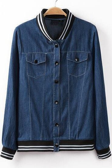 Blue Long Sleeve Contrast Striped Denim Jacket