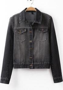 Black Lapel Long Sleeve Bleached Denim Jacket