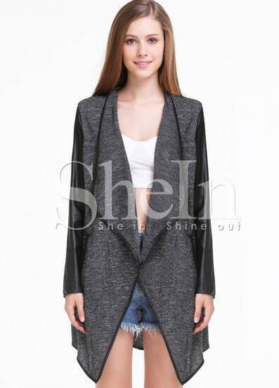 Black Contrast PU Leather Long Sleeve Outerwear