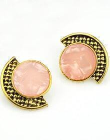 Pink Gemstone Gold Stud Earrings