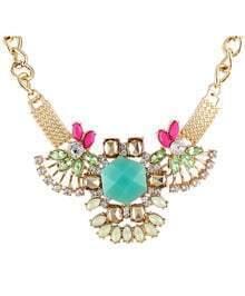 Blue Gemstone Gold Diamond Chain Necklace