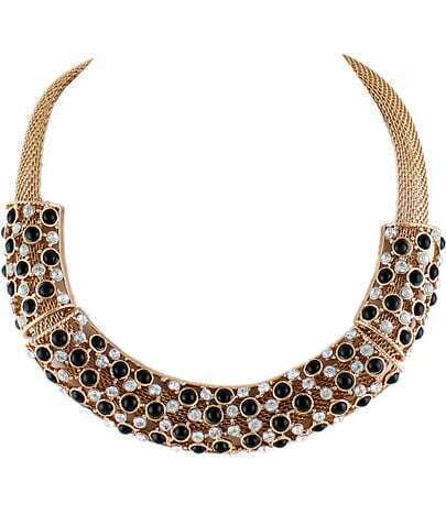 Black White Gemstone Collar Necklace