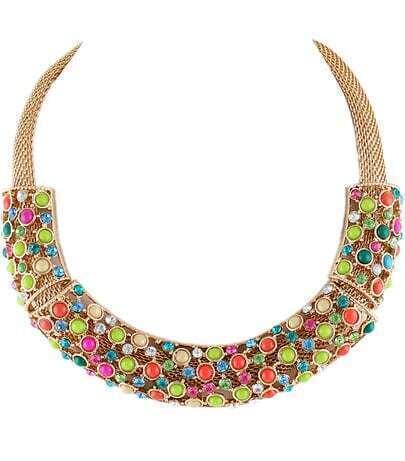 Multicolor Gemstone Collar Necklace