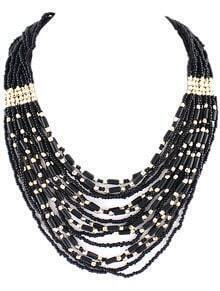 Black Bead Multilayer Necklace