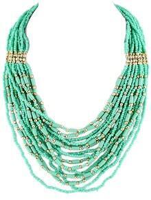 Green Bead Multilayer Necklace