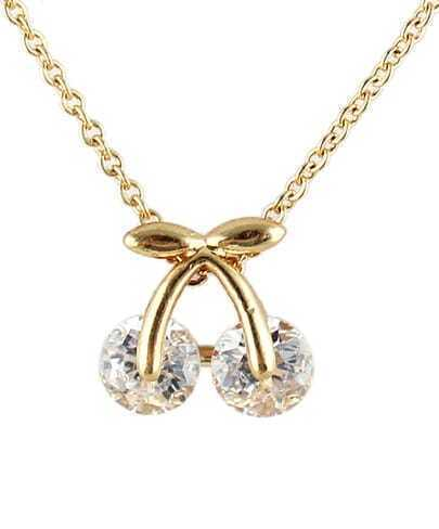 Gold Bow Diamond Chain Necklace