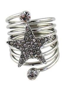 Silver Diamond Star Multilayer Ring