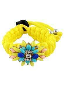 Multicolor Gemstone Yellow Weave Bracelet