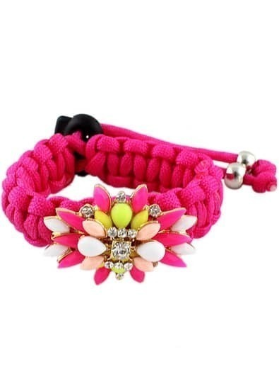 Multicolor Gemstone Red Weave Bracelet