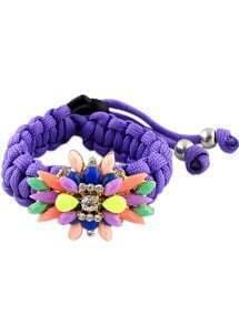 Multicolor Gemstone Purple Weave Bracelet
