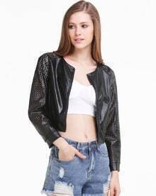 Black Contrast Cut Out Sleeve PU Leater Bomber Jacket