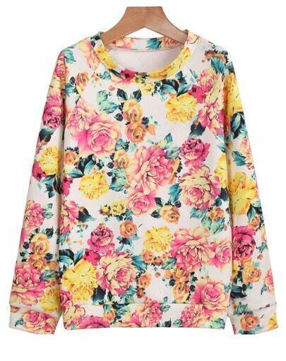 Multicolor Long Sleeve Florals Print Sweatshirt