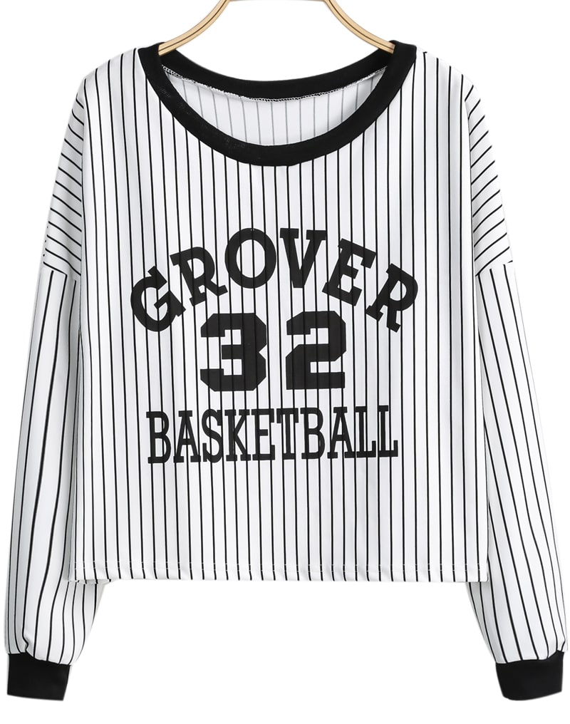 Black White Vertical Stripe 32 Print T-Shirt -SheIn(Sheinside)