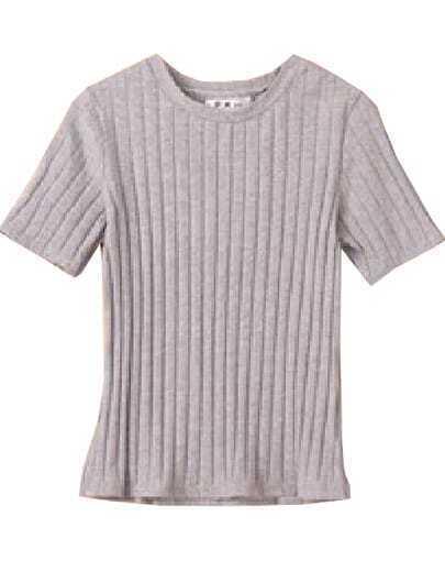 Grey Short Sleeve Slim Knit T-Shirt