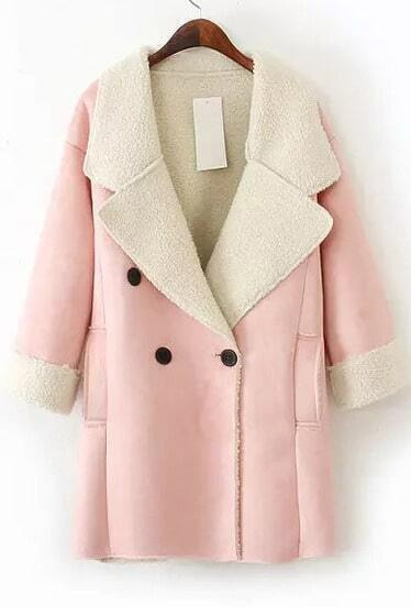 Pink Lapel Long Sleeve Pockets Suede Coat
