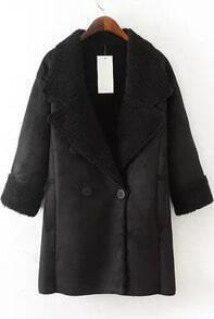 Black Lapel Long Sleeve Pockets Suede Coat