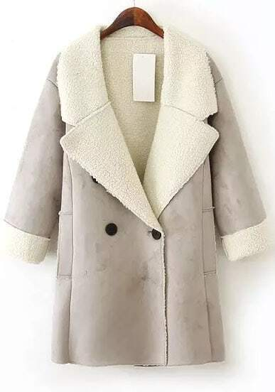 Grey Lapel Long Sleeve Pockets Suede Coat