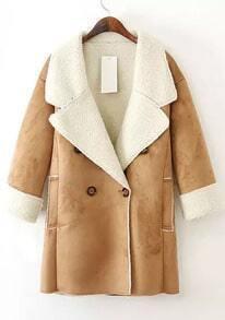 Coffee Lapel Long Sleeve Pockets Suede Coat