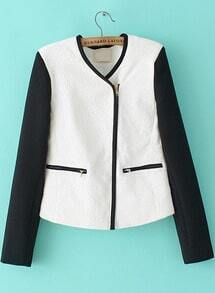 White Long Sleeve Contrast Trims Jacket