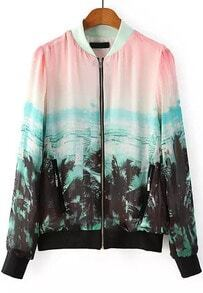 Pink Long Sleeve Coconut Trees Print Jacket