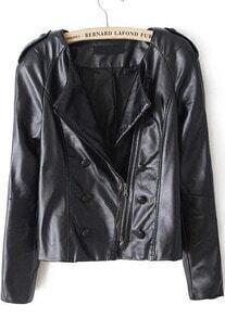 Black Long Sleeve Oblique Zipper Jacket