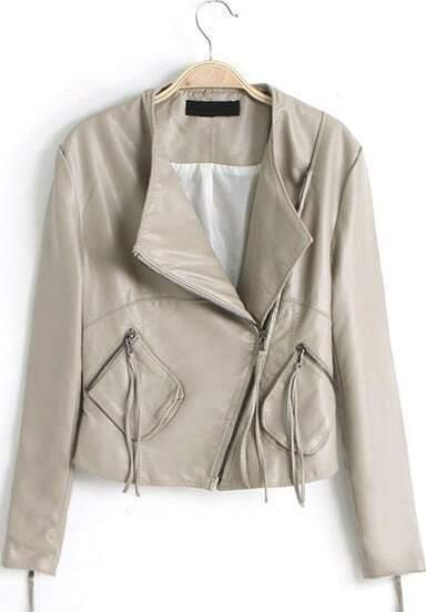 Beige Long Sleeve Oblique Zipper Pockets Jacket