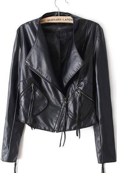 Black Long Sleeve Oblique Zipper Pockets Jacket